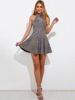 Grey Skater Dress Velvet Halter Sleeveless Back Lace Up Pleated Flare Dress