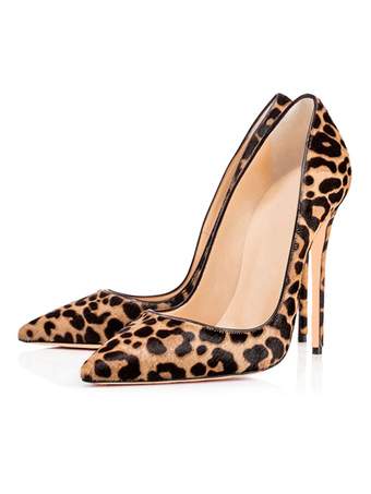 0b04709aa441 Pointed Toe Heels 2019 Women High Heels Leopard Faux Fur Slip On Pumps