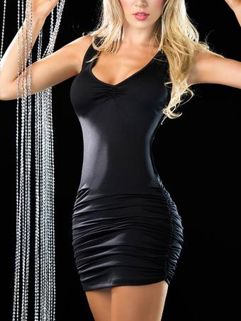 Sexy Club Dress Black Strappy Sleeveless Ruched Slim Fit Bodycon Dress