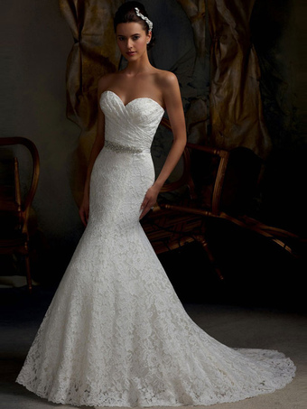 Mermaid Wedding Dress White Lace Fit And Flare Bridal Dress Sweetheart  Strapless Train Fishtail Bridal Gown