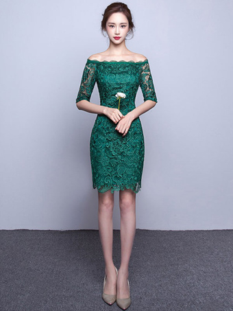 Lace Cocktail Dress Off The Shoulder Sheath Cheap Party Dress Illusion Half Sleeve Mini Occasion Dress