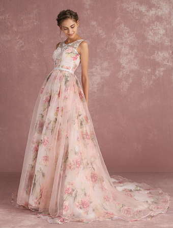 fa867762183 Pink Prom Dresses 2019 Long Floral Print Organza Pageant Dress Backless Chapel  Train Party Dress