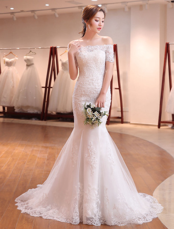 1711af92a6706 Mermaid Wedding Dresses Lace Beading Off The Shoulder Short Sleeve fishtail  Ivory Bridal Gown With Train