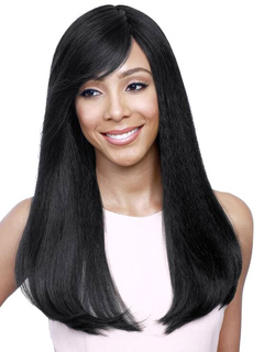 Human Hair Wigs Side Parting Straight Long Black  Hair Wigs For Women