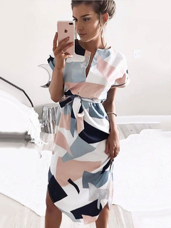 Women's Maxi Dress V Neck Short Sleeve Geometric Printed Slit Long Dress