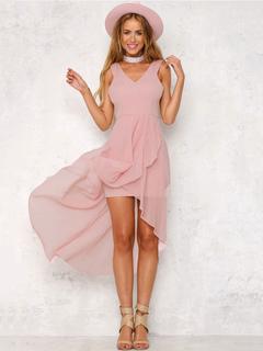 Chiffon Maxi Dress Women High Low Layered Pink Long Dresses