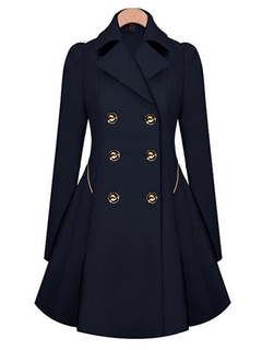 Trench Women Coat Navy Peacoat Long Sleeve Winter Women Overcoat