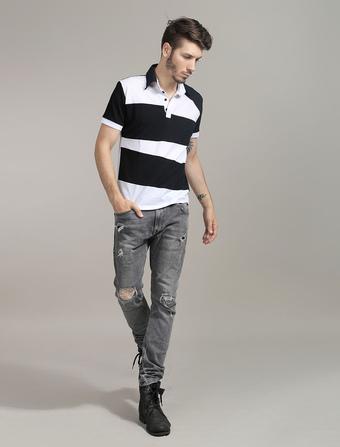 Men T Shirt Two Tone Cotton Short Sleeve Polo Shirt