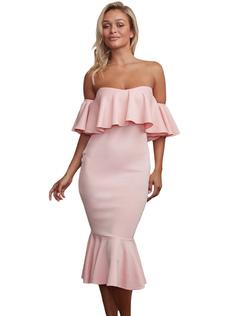 Women's Bodycon Dress Off The Shoulder Half Sleeve Ruffles Backless Mermaid Wrap Dress