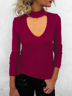 Burgundy Women's Sweater V Neck Long Sleeve Cut Out Shaping Comfy Knit Top