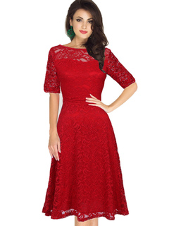 Red Lace Dress Vintage Style Women's Illusion Short Sleeve Bateau Retro Dress