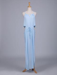 Blue High Split Chiffon Maxi Dress for Woman