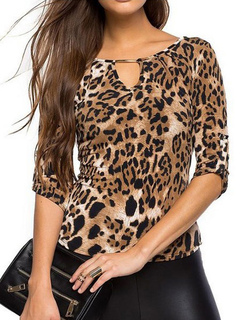 Leopard Print Blouse Notched Neckline Half Sleeve Back Cut Out Causual Top