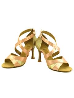 Raso de baile zapatos albaricoque abierto T tipo vendaje abultado punta de aguja zapatos de salón de baile modificado para requisitos particulares D7EYKqqR