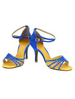 Tobillo correa zapatos Open Toe raso cuerda bobina talón baile zapatos de baile de mujeres aLvsShhNL