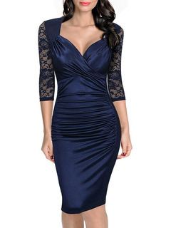 Women's Bodycon Dress Lace Patchwork Queen Anne Neck Ruched Sheer Sleeve Deep Blue Sheath Dress