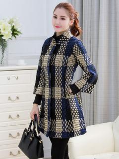 Blue Skater Dress Plaid Turndown Collar 3/4 Length Sleeve Winter Dress For Women