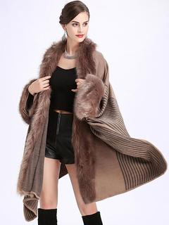 Faux Fur Coat Women Cape Coat Khaki Long Sleeve Winter Coat