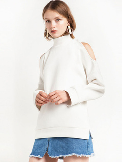 White Women Sweater Long Sleeve Cold Shoulder High Collar Pullover Sweater