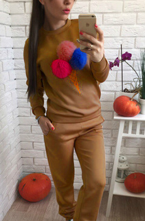 2 Piece Sweat Suit Women's Pom Poms Deco Crewneck Sweatshirt And Long Pants