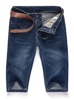 Blue Denim Jeans Men's Zipper Fly Short Casual Jeans