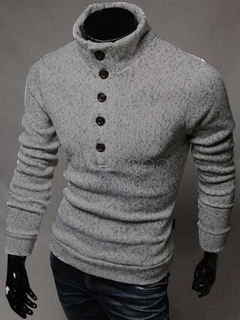 Buttons Cotton Shaping Pullover For Men