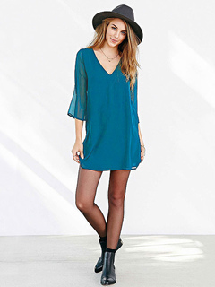 Teal Mini Dress Long Sleeve Chiffon V Neck Cut Out Backless Women's Short Dresses