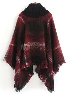 Women's Poncho Sweater Plaided High Collar Knitwear With Fringe