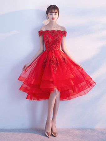 aedbc224fc Tulle Homecoming Dresses 2019 Short Prom Dresses Red Off The Shoulder Lace  Applique Beading Cocktail Dress