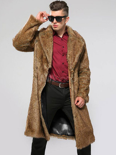 Faux Fur Coat Brown Turndown Collar Long Sleeve Men's Winter Coat