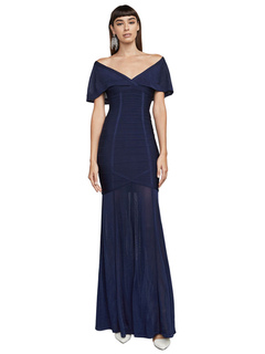 Women Party Dress Off The Shoulder Short Sleeve Royal Blue Maxi Dresses