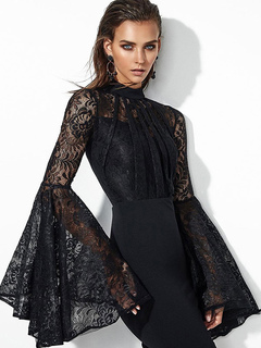 Black Party Dress Lace Crewneck Bell Sleeve Bodycon Dress For Women