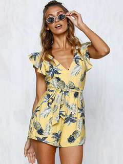 Women Yellow Romper Floral Print V Neck Ruffle Backless Cotton Romper Shorts