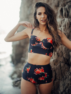 Black Bathing Suit Floral Print Strappy Sleeveless 2 Piece Women Swimsuit