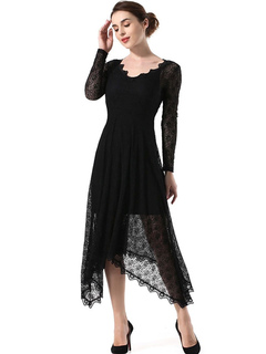Black Maxi Dress Women Lace Dress V Neck Long Sleeve Irregular Long Dress