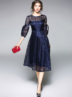Women Lace Dress Bows Round Neck Long Sleeve Deep Blue Midi Dresses