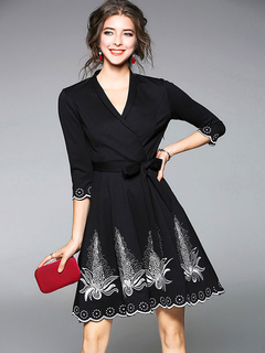 Black Skater Dress V Neck Half Sleeve Embroidered Mini Dresses For Women