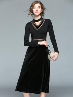 Black Maxi Dress Velour Round Neck Long Sleeve Cut Out A Line Dresses For Women
