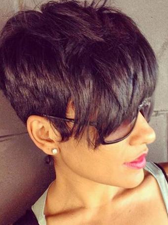Short Style Wig Layered Side Swept Bang Black Women Human Hair Wig