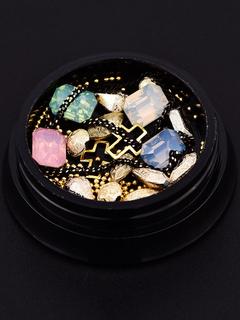 Nail Art Ornament Metallic Bead Chain Crystal Gem Nail Beauty Accessory In Random Shipment
