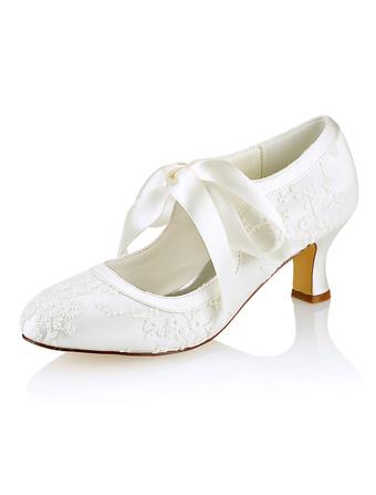 Zapatos de puntera redonda de tacón de stiletto de seda sintética de encajeelegantes Fiesta de bodas Dq1LN8H