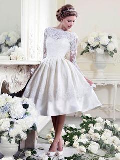 b275be6ed19 Robe en dentelle blanche robe de soirée vintage chérie découpé à manches  longues femmes Midi Dress