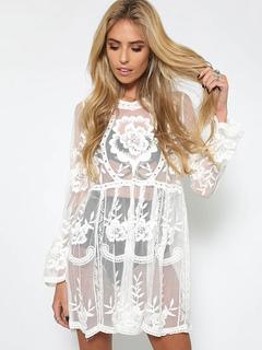 White Cover Ups Lace V Neck Flare Sleeve Sheer Boho Women Beachwear