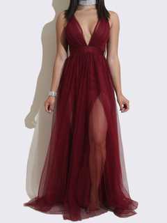 Sexy Maxi Dress Women Tulle Plunging Sheer Sleeveless Burgundy Backless Slip Dress