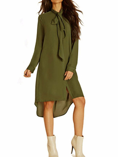 Women Shift Dress Hunter Green Shirt Dress Designed Neckline Long Sleeve High Low Dress