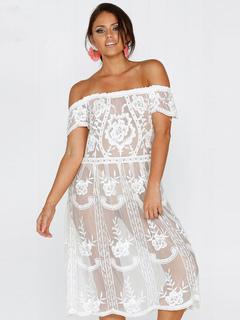 Women Lace Beachwear Off The Shoulder Short Sleeve Sheer Boho White Cover Up