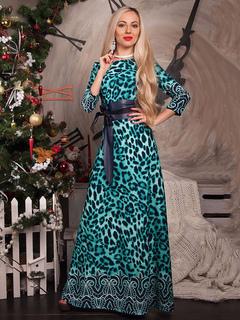 Women Maxi Dress Green Leopard Print Three Quarter Sleeve Long Party Dress