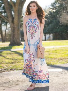 Boho Maxi Dress Women Halter Backless Printed Tassels Summer Dress