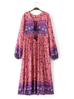 Women Dress Boho Tassel V Neck Long Sleeve Ethnic Print Women Floral Dress