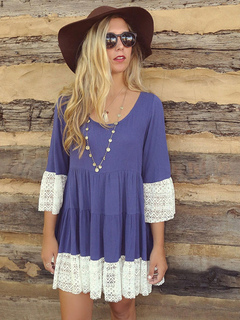 Blue Shift Dress Women Dress Round Neck 3/4 Length Sleeve Pleated Short Dress